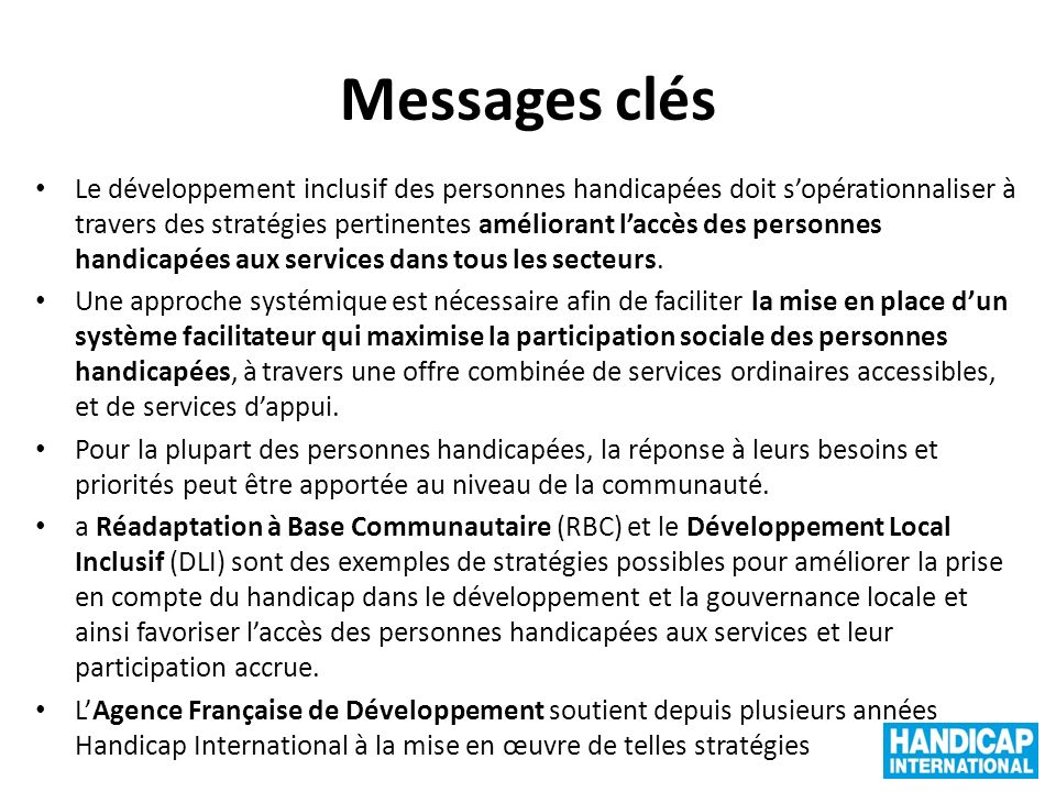 Messages clés