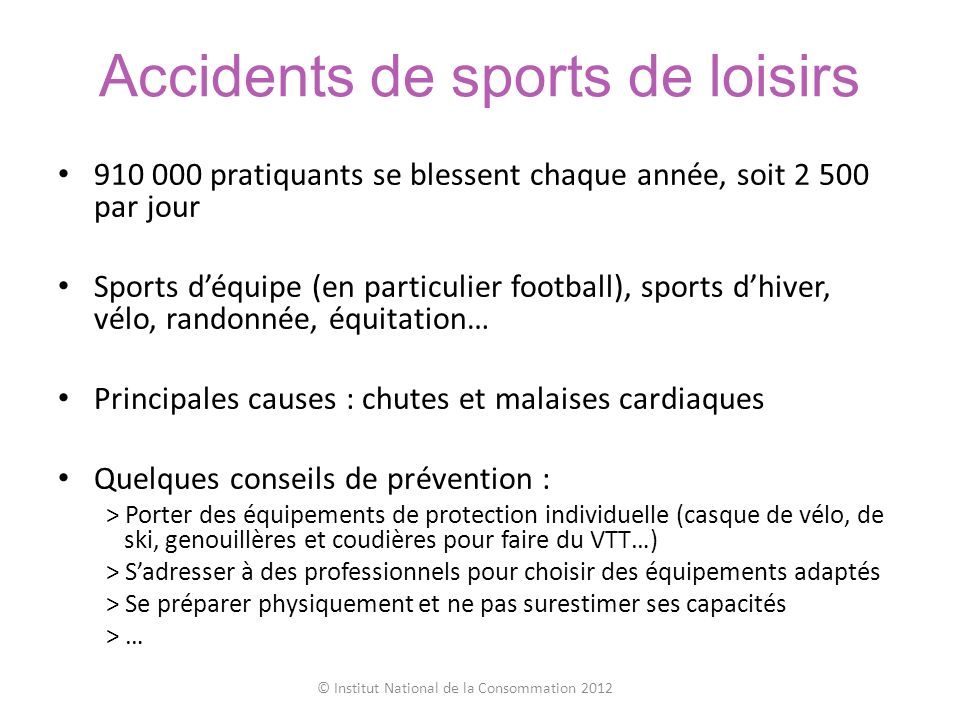 Accidents de sports de loisirs