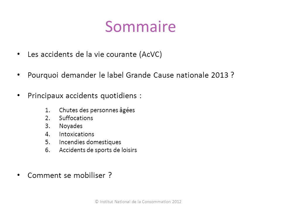 © Institut National de la Consommation 2012