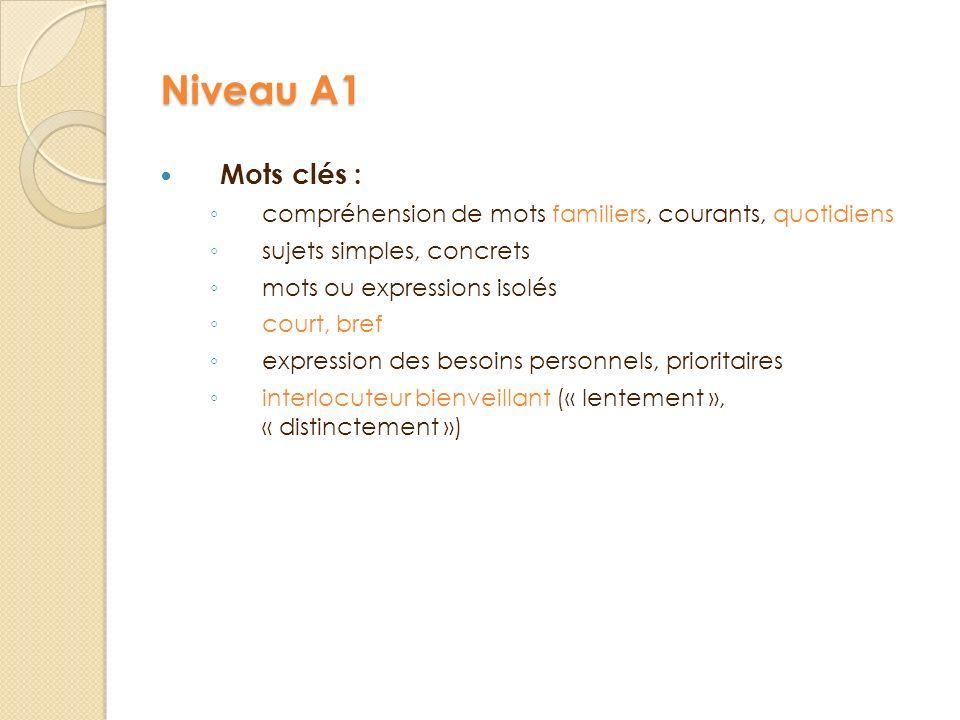 Niveau A1 Mots clés : compréhension de mots familiers, courants, quotidiens. sujets simples, concrets.