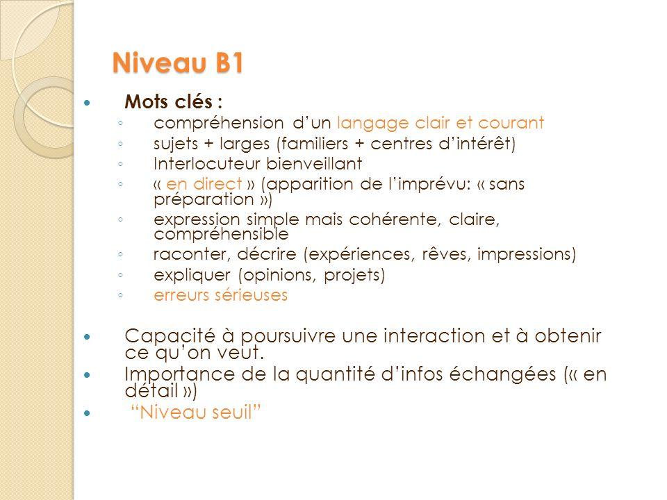 Niveau B1 Mots clés : compréhension d'un langage clair et courant. sujets + larges (familiers + centres d'intérêt)