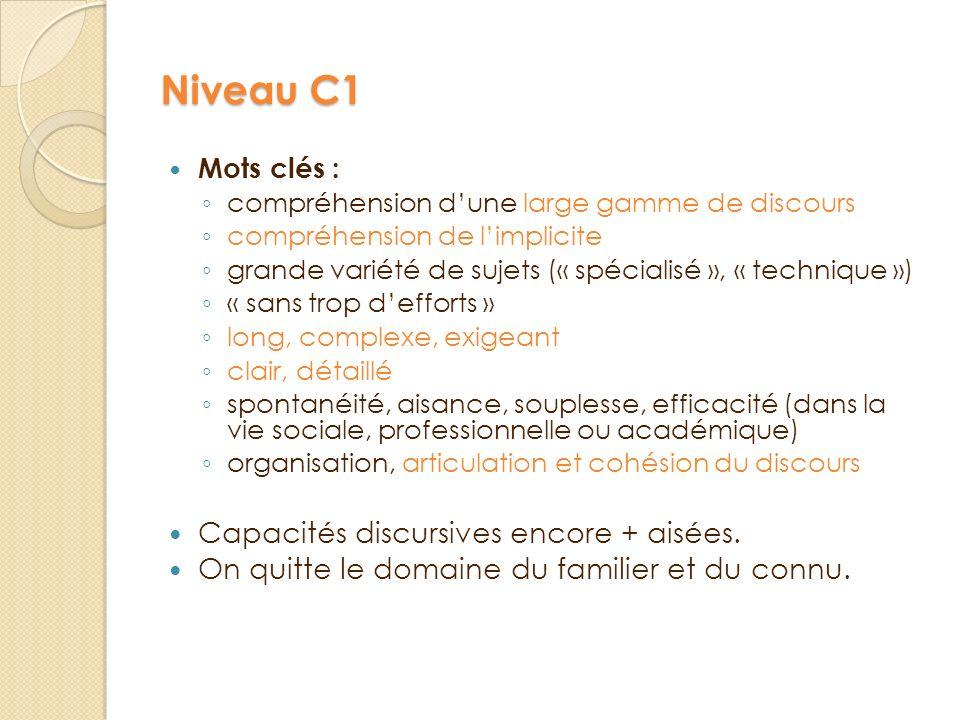 Niveau C1 Capacités discursives encore + aisées.