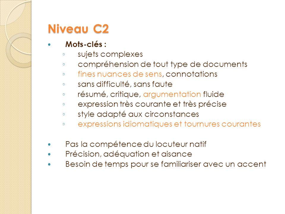 Niveau C2 Mots-clés : sujets complexes