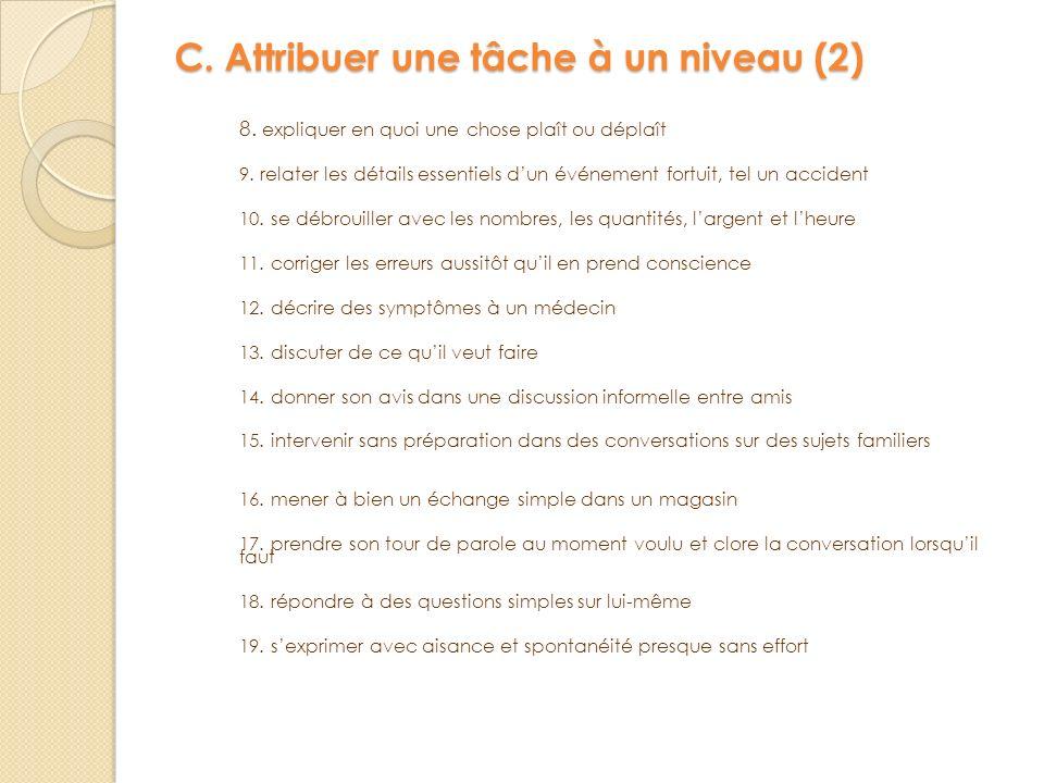 C. Attribuer une tâche à un niveau (2)