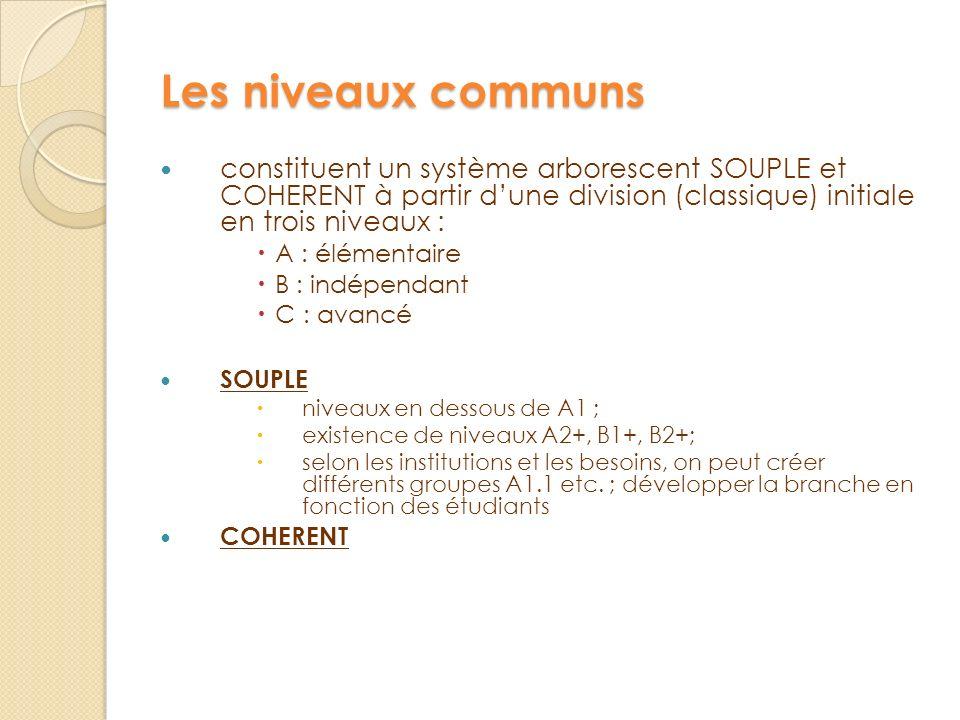 Les niveaux communs constituent un système arborescent SOUPLE et COHERENT à partir d'une division (classique) initiale en trois niveaux :