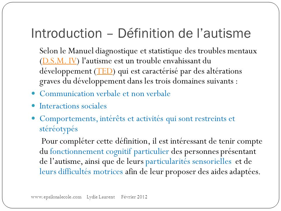 Introduction – Définition de l'autisme