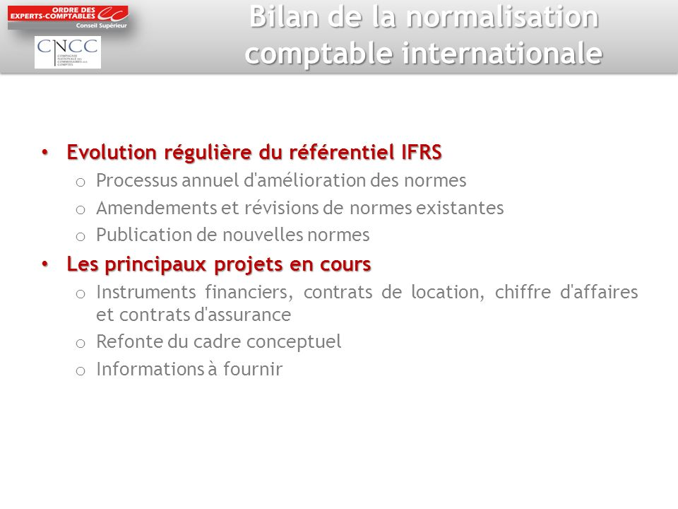 Bilan de la normalisation comptable internationale
