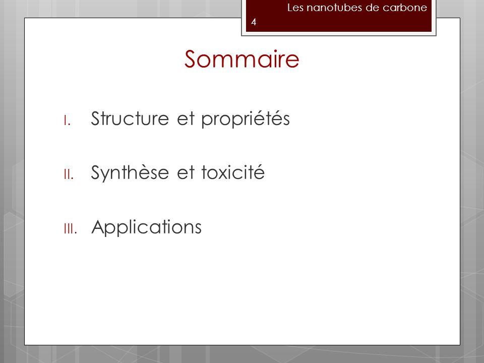 Sommaire Structure et propriétés Synthèse et toxicité Applications