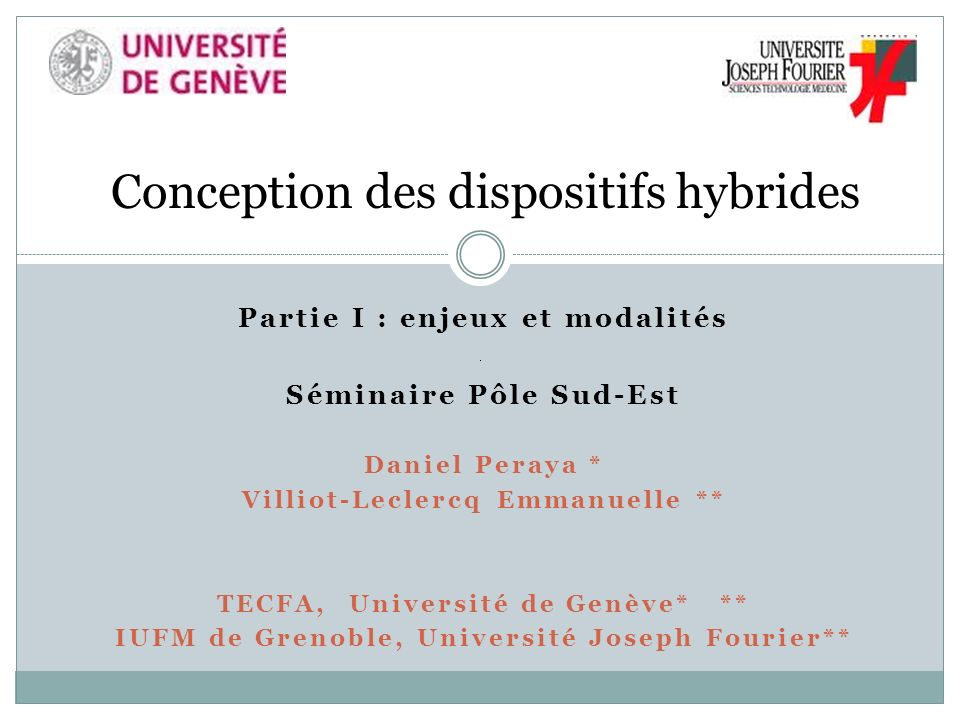 Conception des dispositifs hybrides
