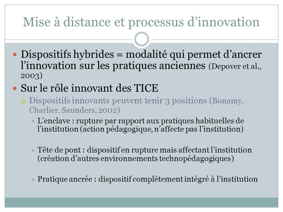 Mise à distance et processus d'innovation