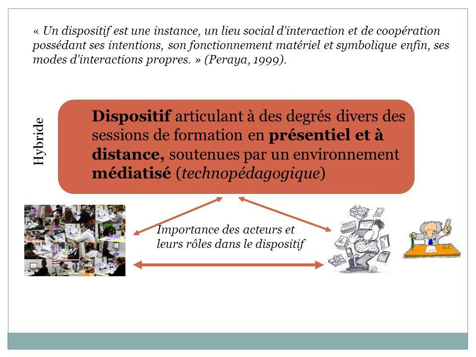 « Un dispositif est une instance, un lieu social d interaction et de coopération