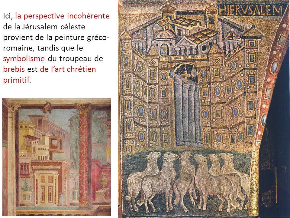 Ici, la perspective incohérente de la Jérusalem céleste provient de la peinture gréco-romaine, tandis que le symbolisme du troupeau de brebis est de l'art chrétien primitif.