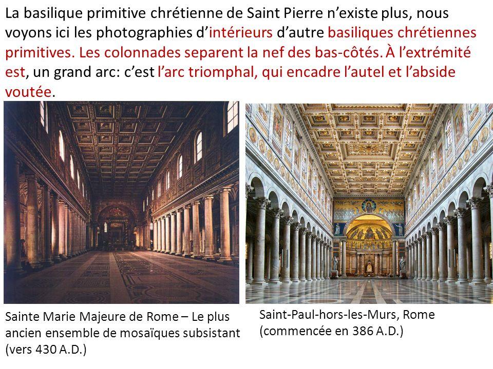 La basilique primitive chrétienne de Saint Pierre n'existe plus, nous voyons ici les photographies d'intérieurs d'autre basiliques chrétiennes primitives. Les colonnades separent la nef des bas-côtés. À l'extrémité est, un grand arc: c'est l'arc triomphal, qui encadre l'autel et l'abside voutée.