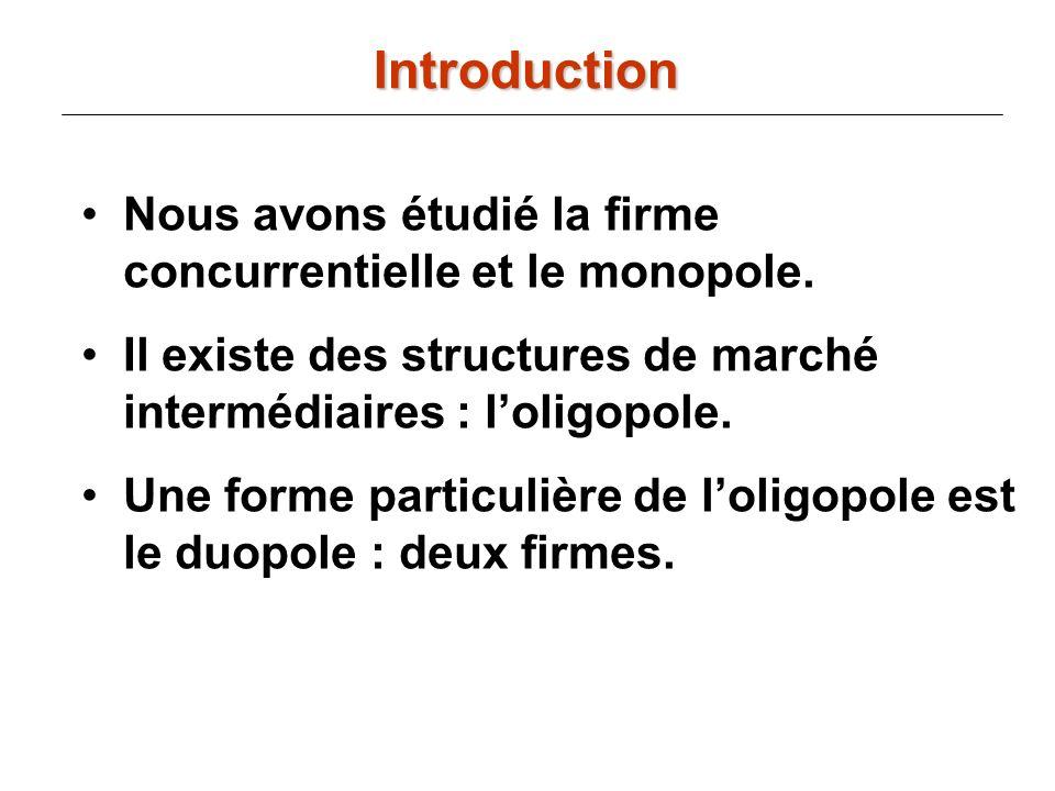 Introduction Nous avons étudié la firme concurrentielle et le monopole. Il existe des structures de marché intermédiaires : l'oligopole.