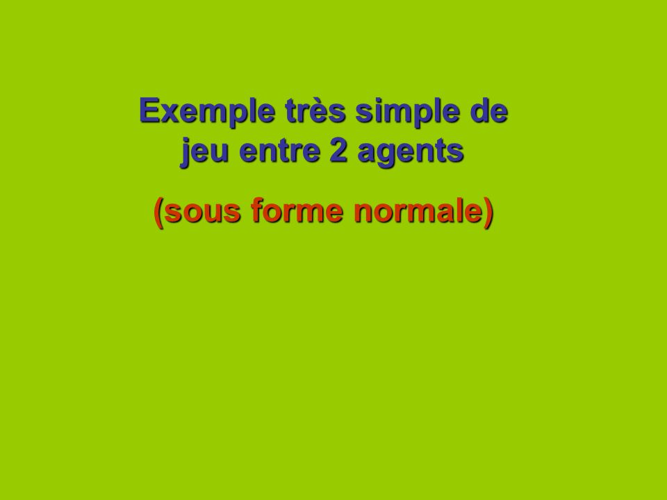 Exemple très simple de jeu entre 2 agents