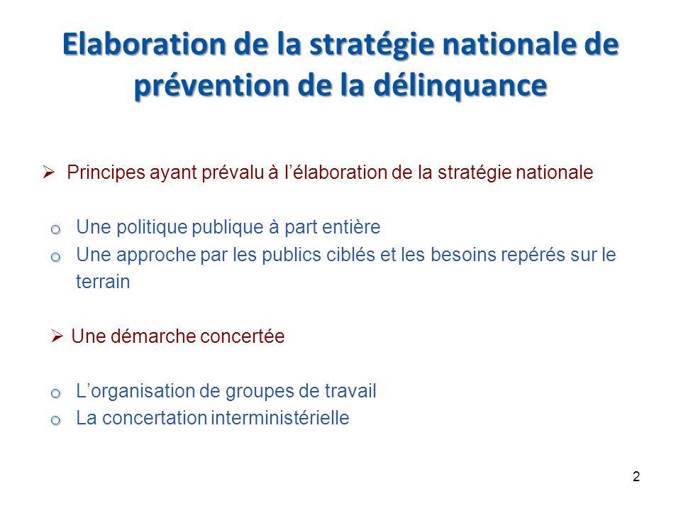 Elaboration de la stratégie nationale de prévention de la délinquance