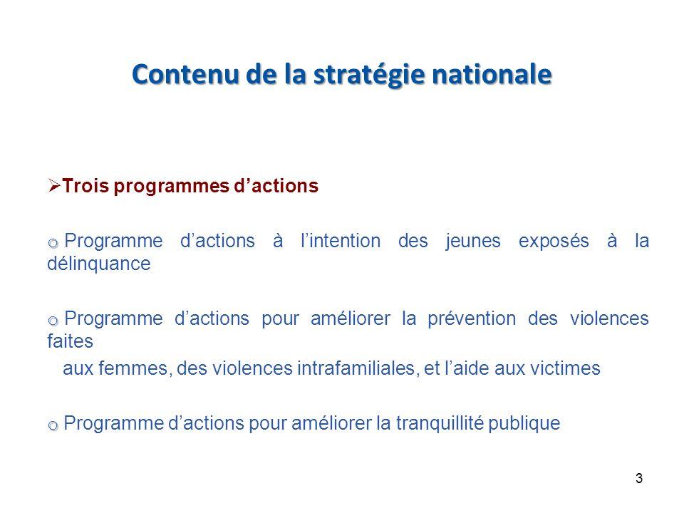 Contenu de la stratégie nationale