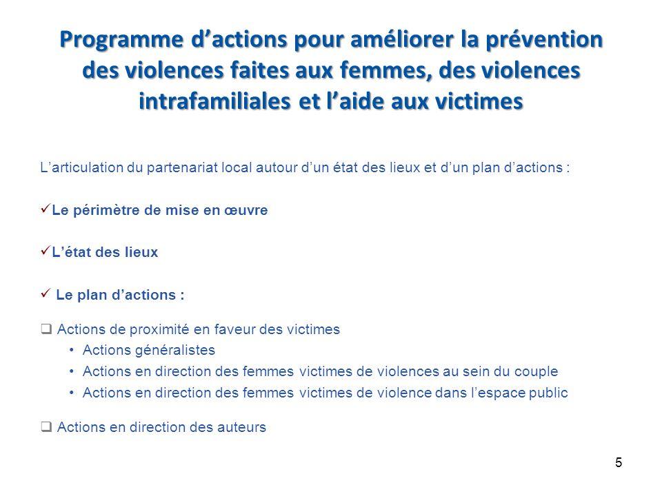 Programme d'actions pour améliorer la prévention des violences faites aux femmes, des violences intrafamiliales et l'aide aux victimes