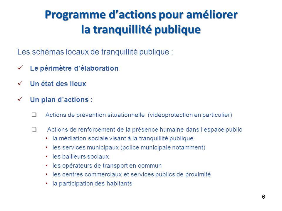 Programme d'actions pour améliorer la tranquillité publique