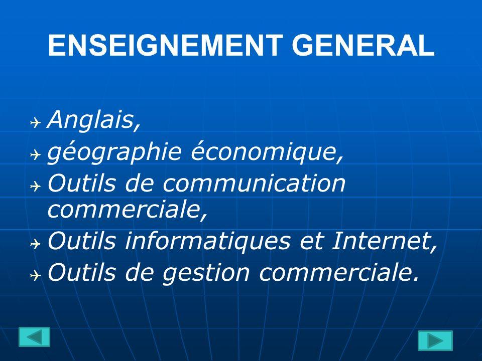 ENSEIGNEMENT GENERAL Anglais, géographie économique,