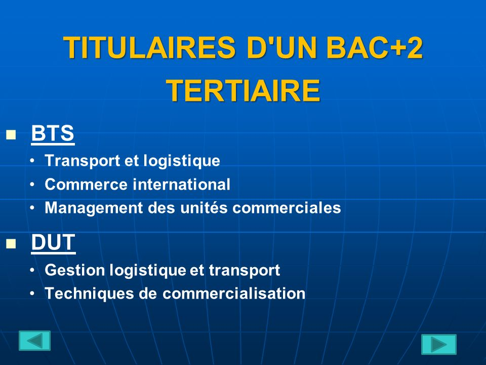 TITULAIRES D UN BAC+2 TERTIAIRE