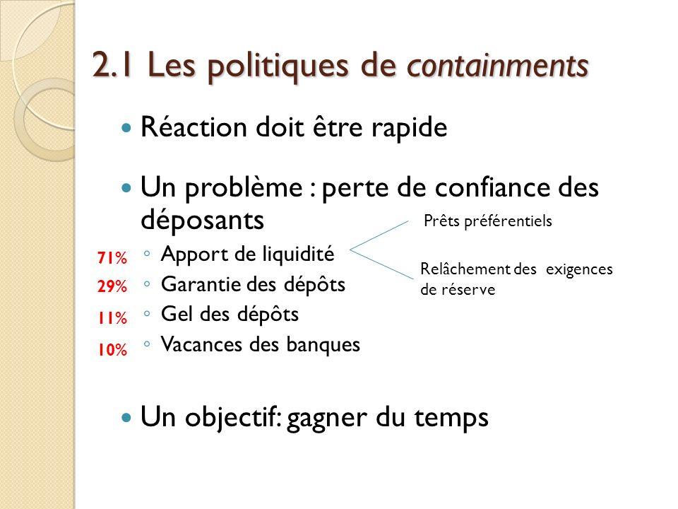 2.1 Les politiques de containments