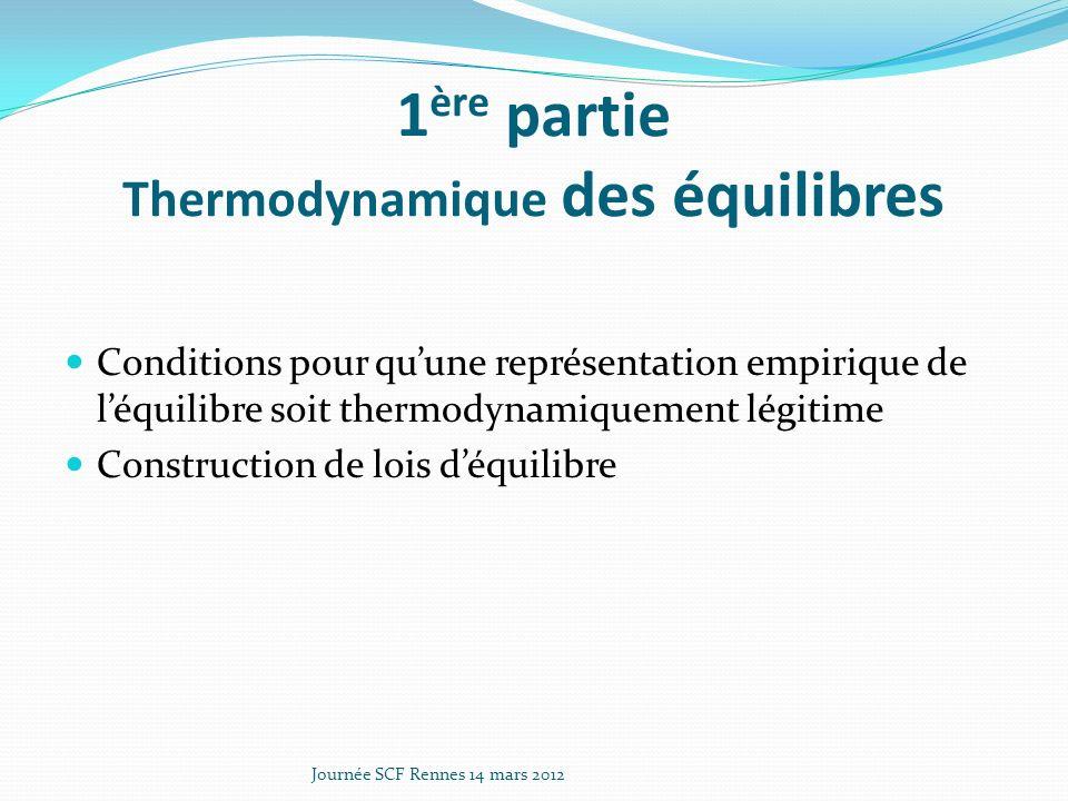 1ère partie Thermodynamique des équilibres
