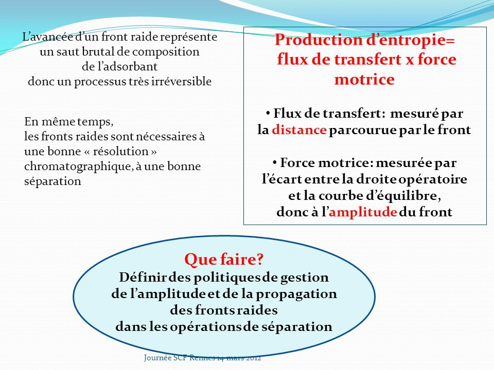 Production d'entropie= flux de transfert x force motrice Que faire