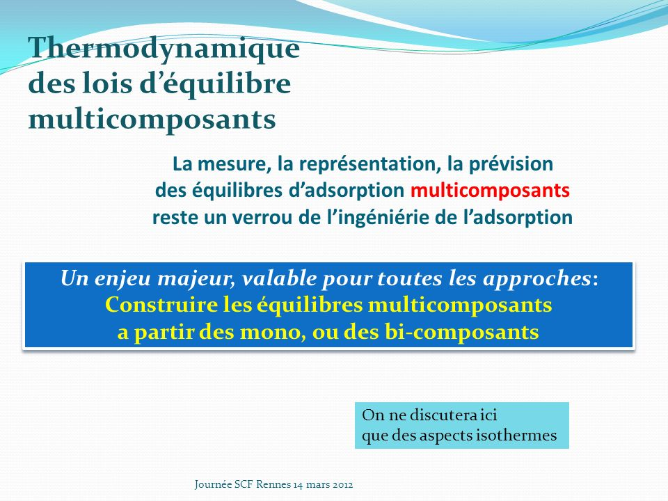 Thermodynamique des lois d'équilibre multicomposants