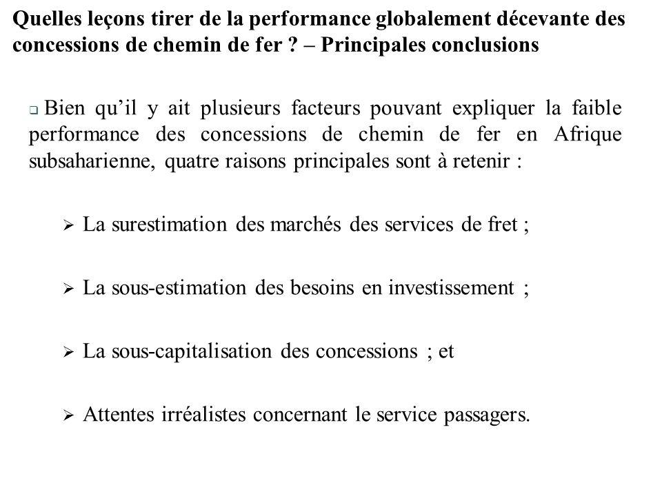 La surestimation des marchés des services de fret ;