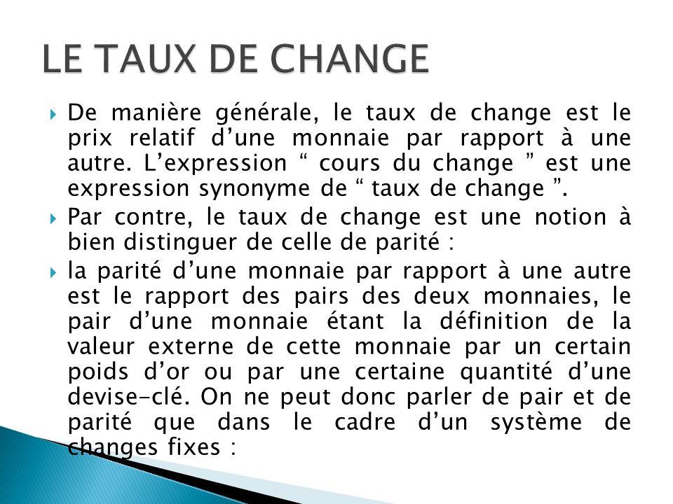 LE TAUX DE CHANGE