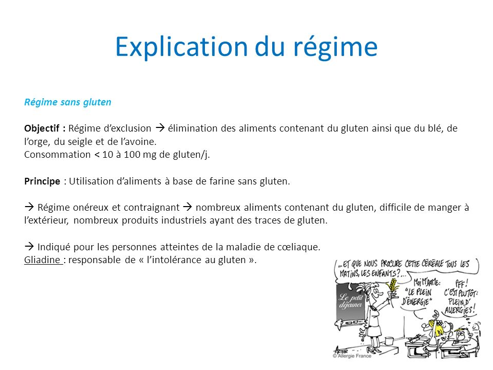 Explication du régime Régime sans gluten