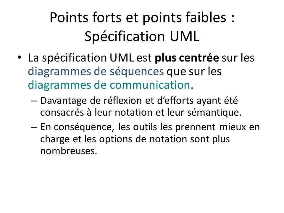 Points forts et points faibles : Spécification UML