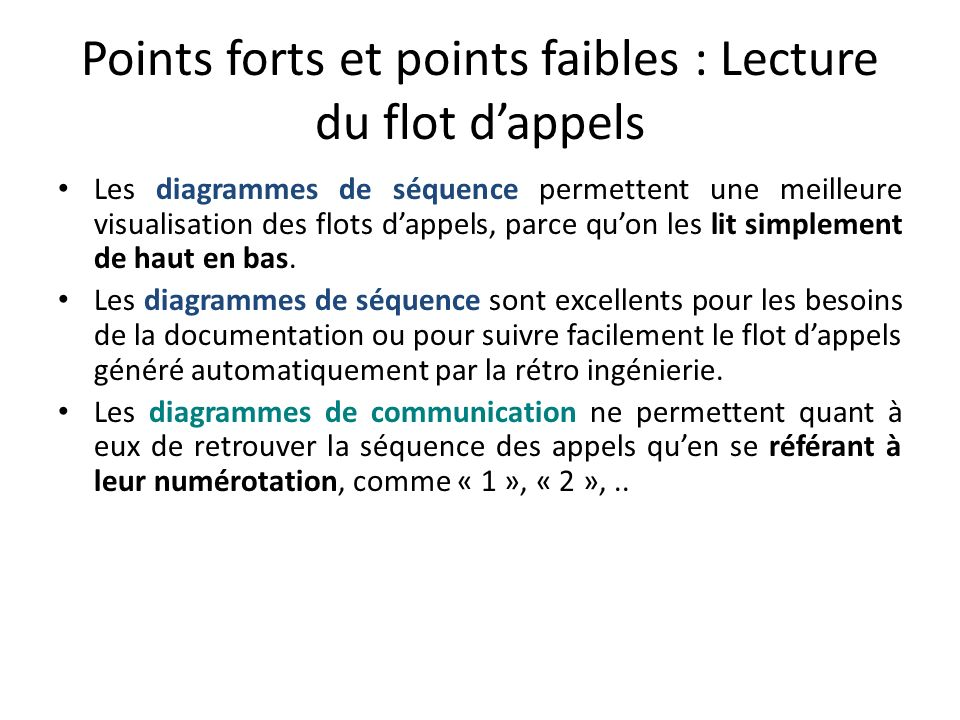Points forts et points faibles : Lecture du flot d'appels