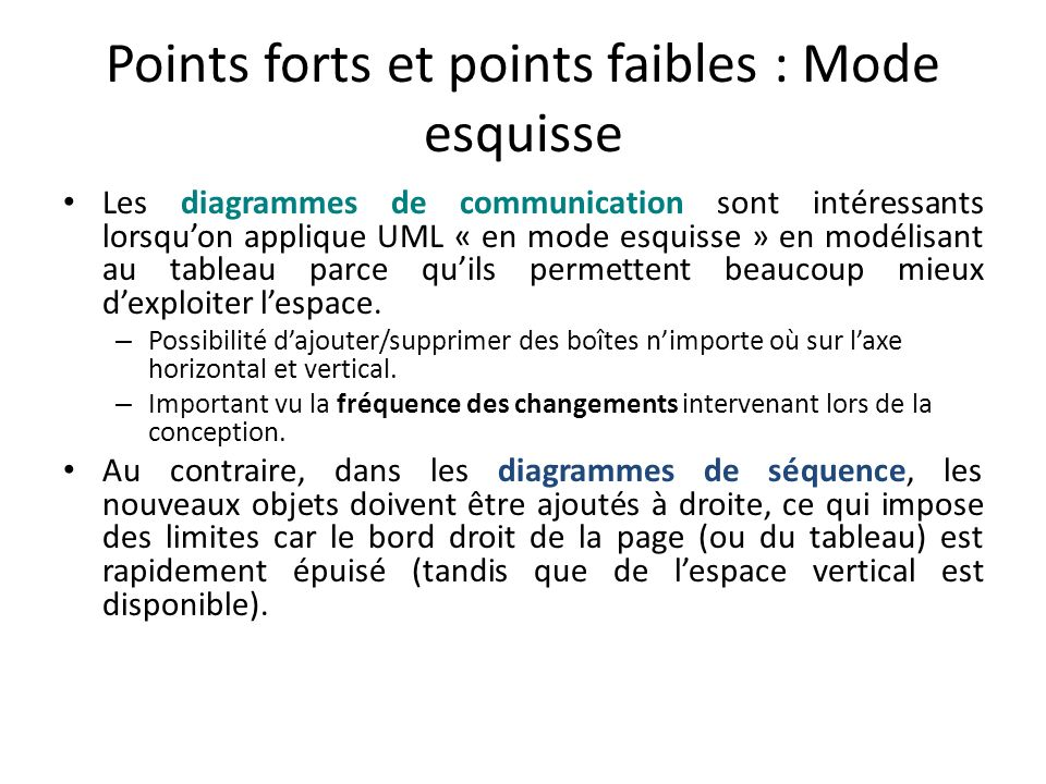 Points forts et points faibles : Mode esquisse
