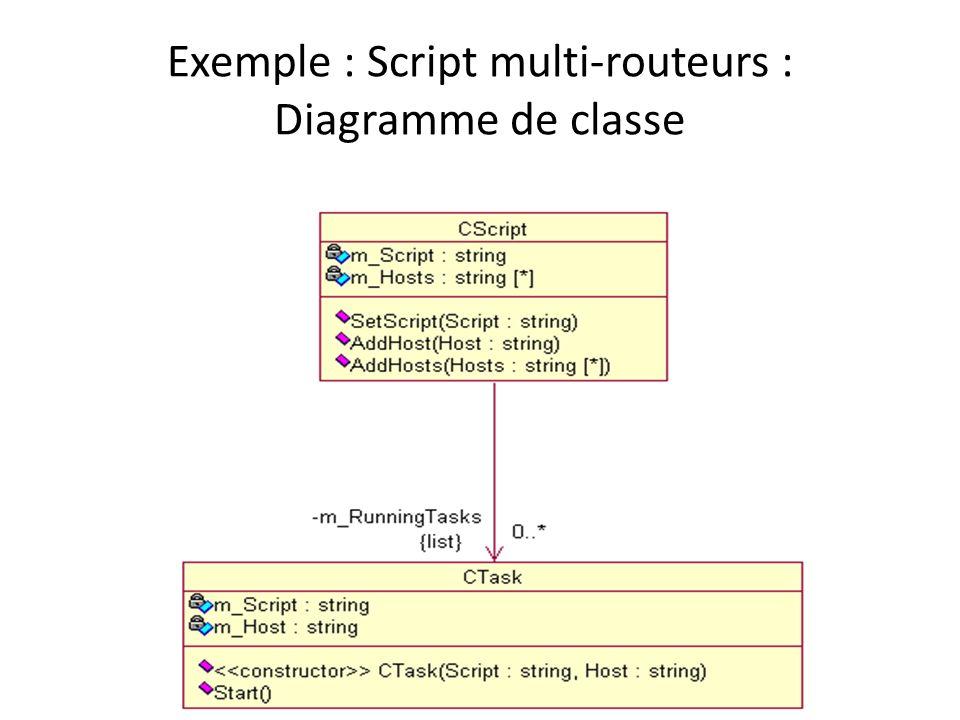 Exemple : Script multi-routeurs : Diagramme de classe