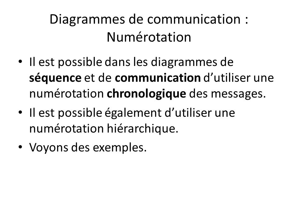 Diagrammes de communication : Numérotation