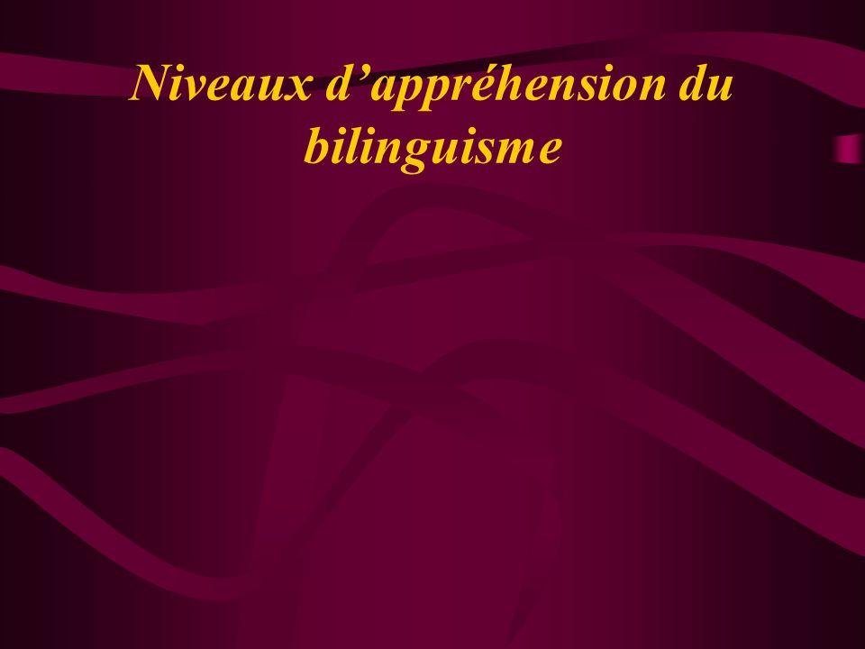 Niveaux d'appréhension du bilinguisme