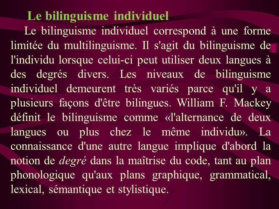 Le bilinguisme individuel