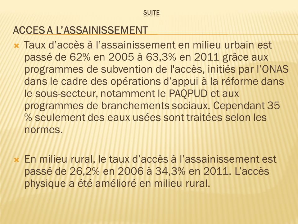 ACCES A L'ASSAINISSEMENT