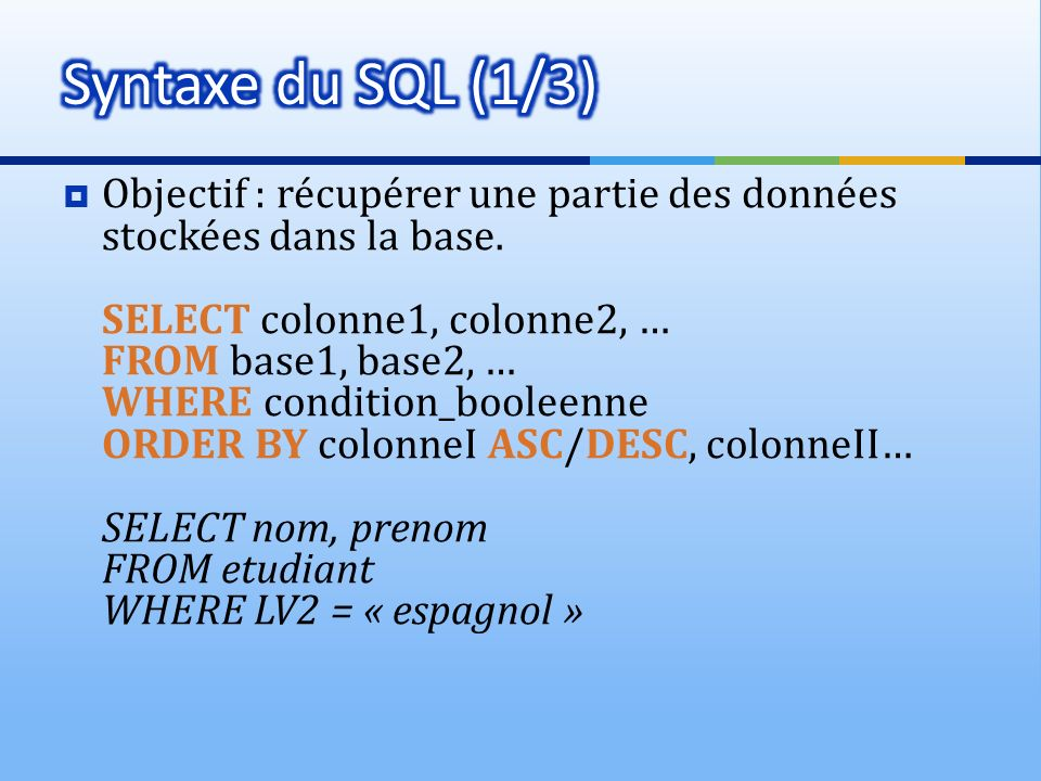 Syntaxe du SQL (1/3)