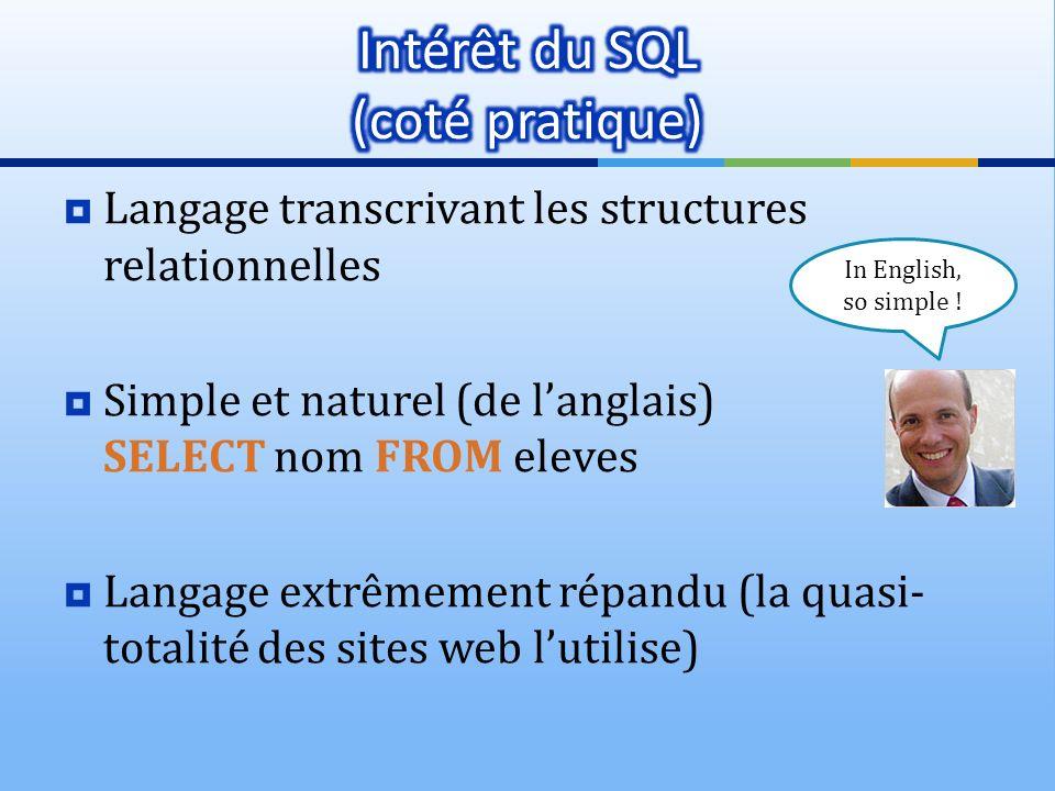 Intérêt du SQL (coté pratique)