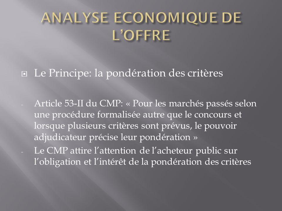 ANALYSE ECONOMIQUE DE L'OFFRE