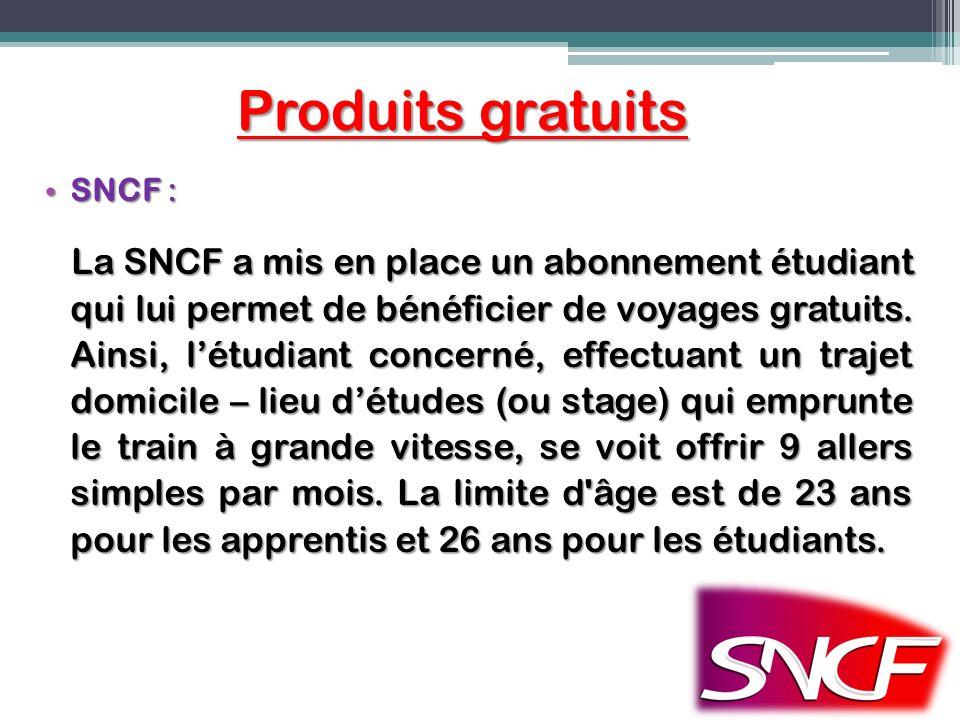 Produits gratuits SNCF :