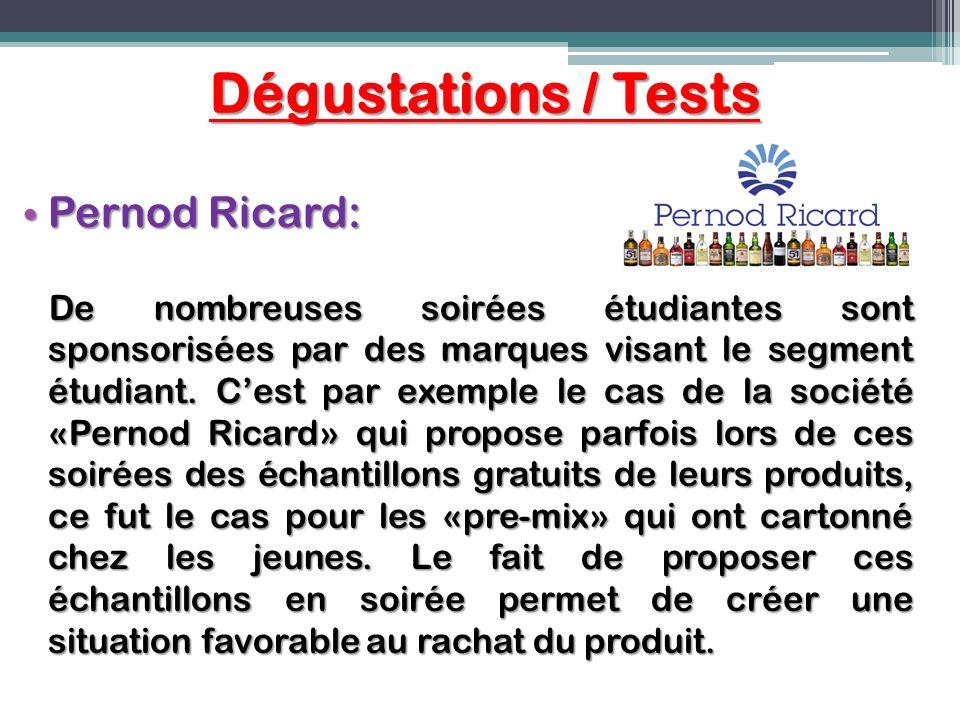 Dégustations / Tests Pernod Ricard: