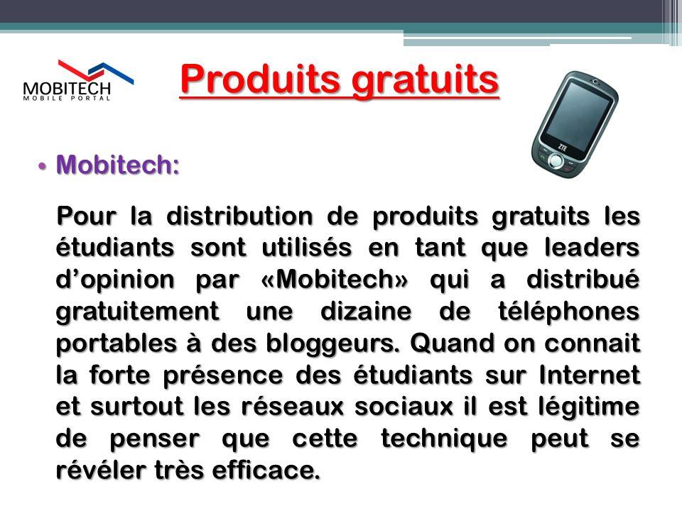 Produits gratuits Mobitech: