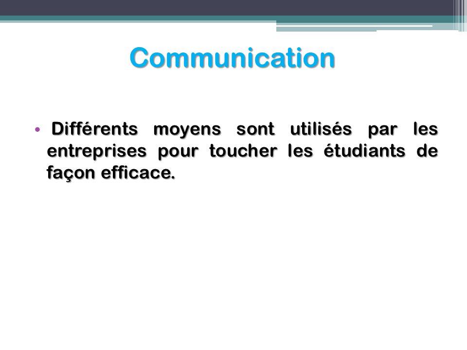 Communication Différents moyens sont utilisés par les entreprises pour toucher les étudiants de façon efficace.