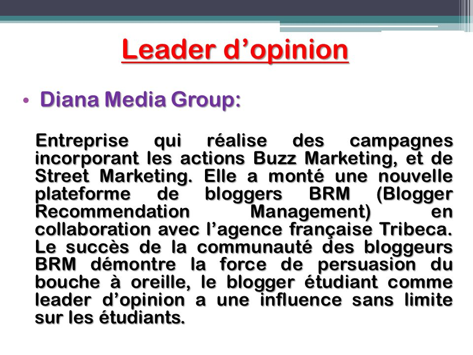 Leader d'opinion Diana Media Group: