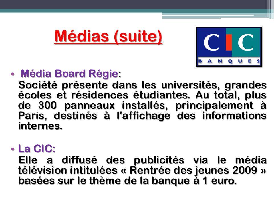 Médias (suite) Média Board Régie: