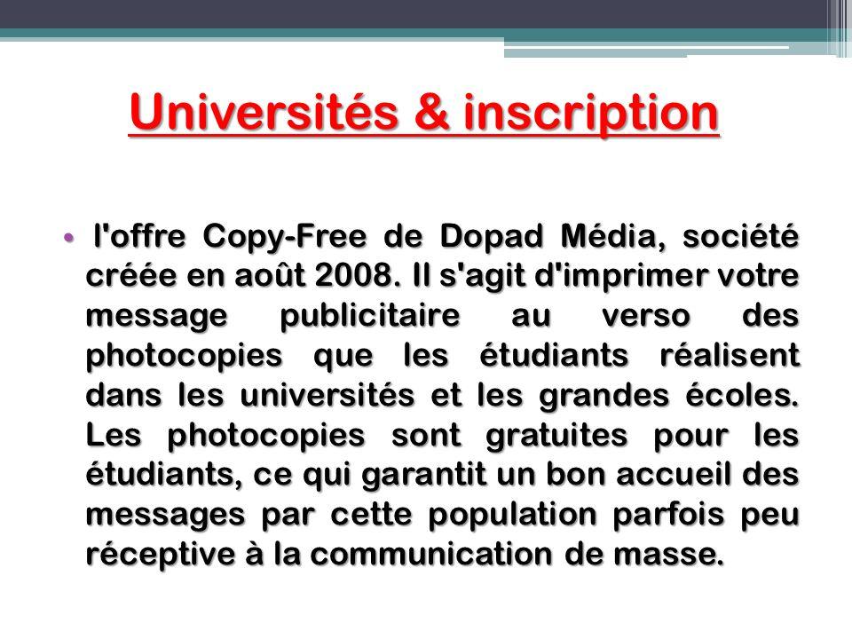 Universités & inscription